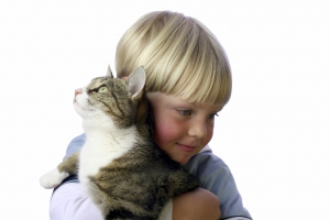 Young boy with pet cat in arm